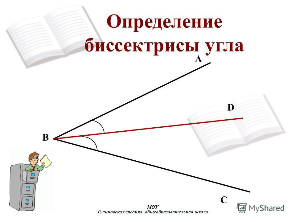Определение биссектрисы угла АА А D C B МОУ Тулиновская средняя общеобразовательная школа