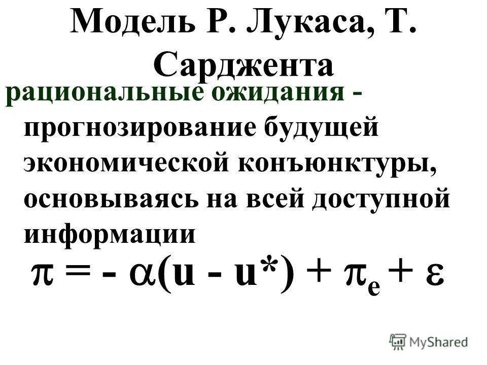 Модель Р. Лукаса, Т. Сарджента рациональные ожидания - прогнозирование будущей экономической конъюнктуры, основываясь на всей доступной информации = - (u - u*) + e +