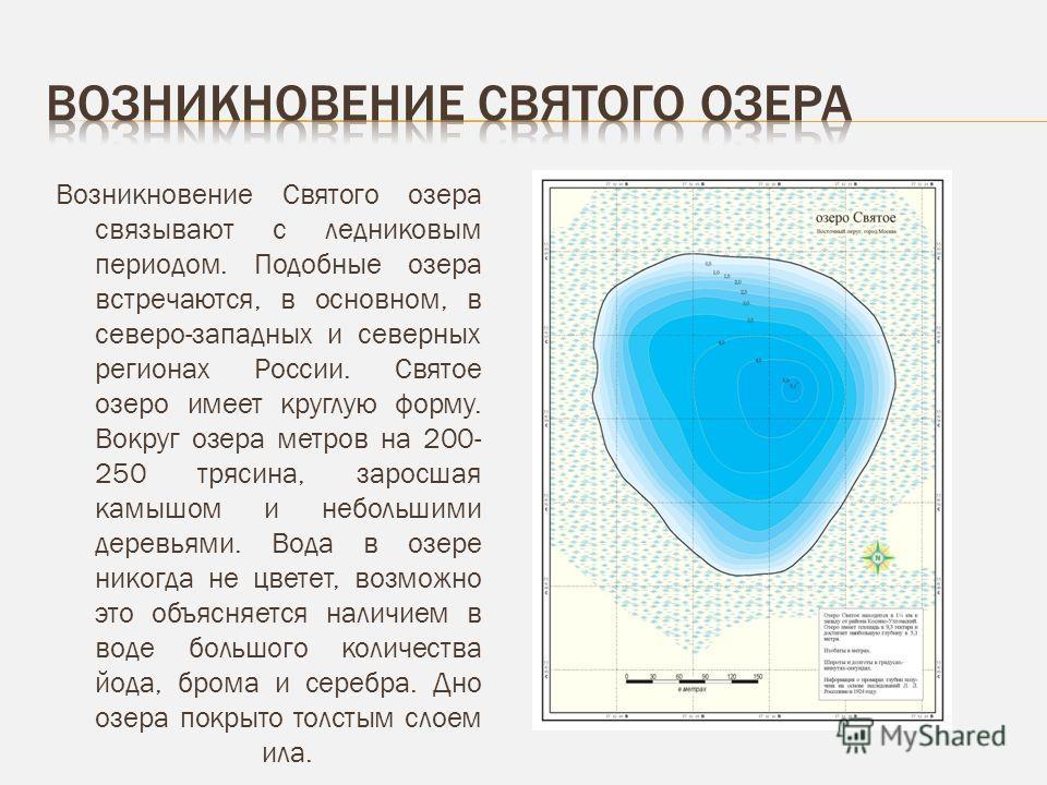 Возникновение Святого озера связывают с ледниковым периодом. Подобные озера встречаются, в основном, в северо-западных и северных регионах России. Святое озеро имеет круглую форму. Вокруг озера метров на 200- 250 трясина, заросшая камышом и небольшим