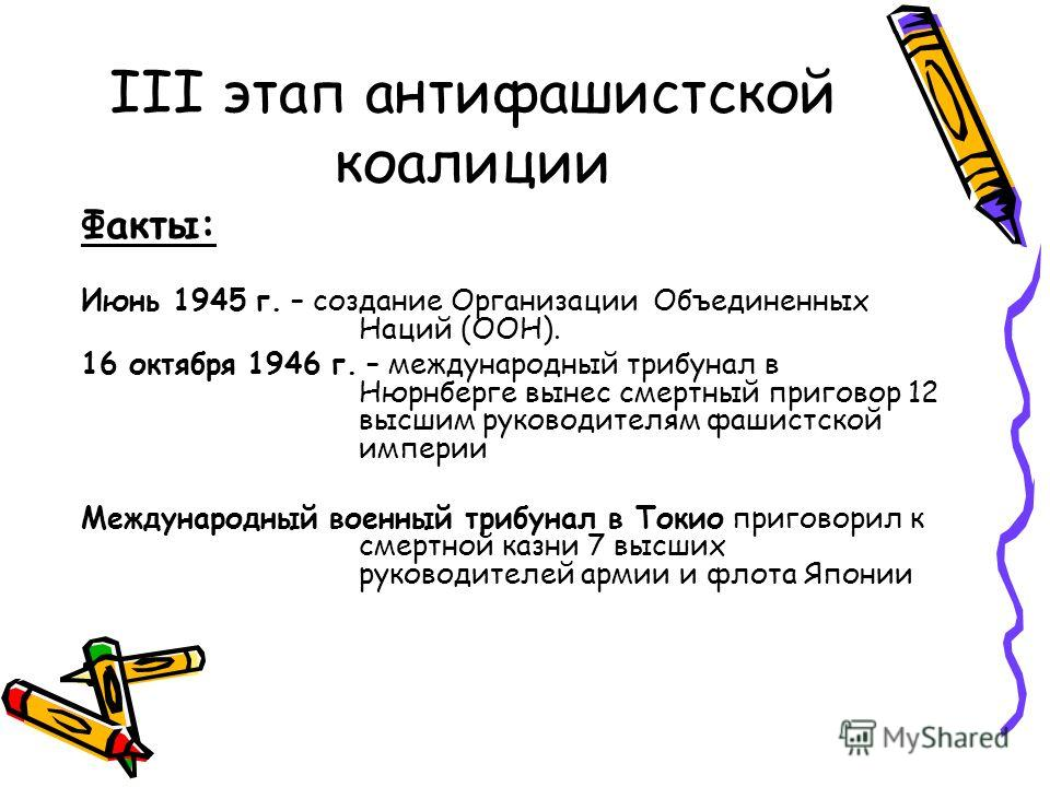 III этап антифашистской коалиции Факты: Июнь 1945 г. – создание Организации Объединенных Наций (ООН). 16 октября 1946 г. – международный трибунал в Нюрнберге вынес смертный приговор 12 высшим руководителям фашистской империи Международный военный три