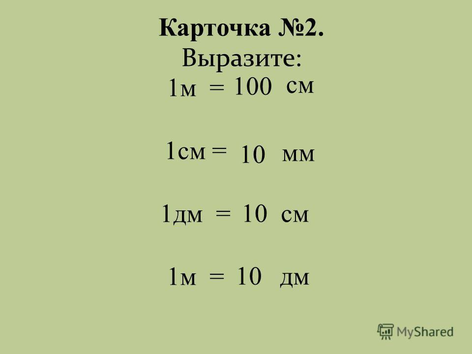 Карточка 2. мм см 1м = 1см = 1дм = 1м = см дм Выразите: 100 10