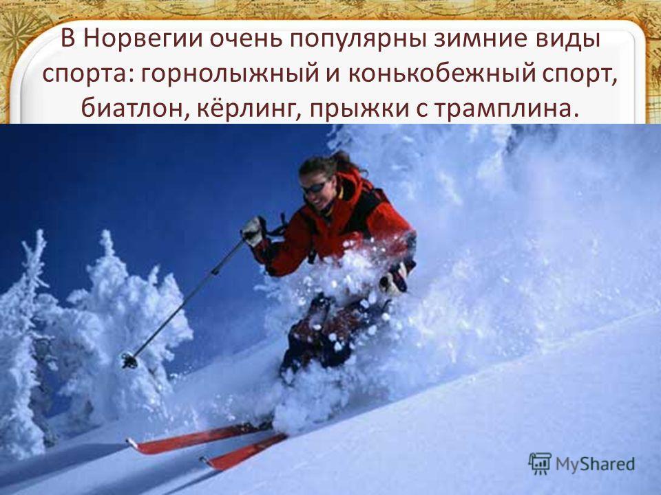 В Норвегии очень популярны зимние виды спорта: горнолыжный и конькобежный спорт, биатлон, кёрлинг, прыжки с трамплина.