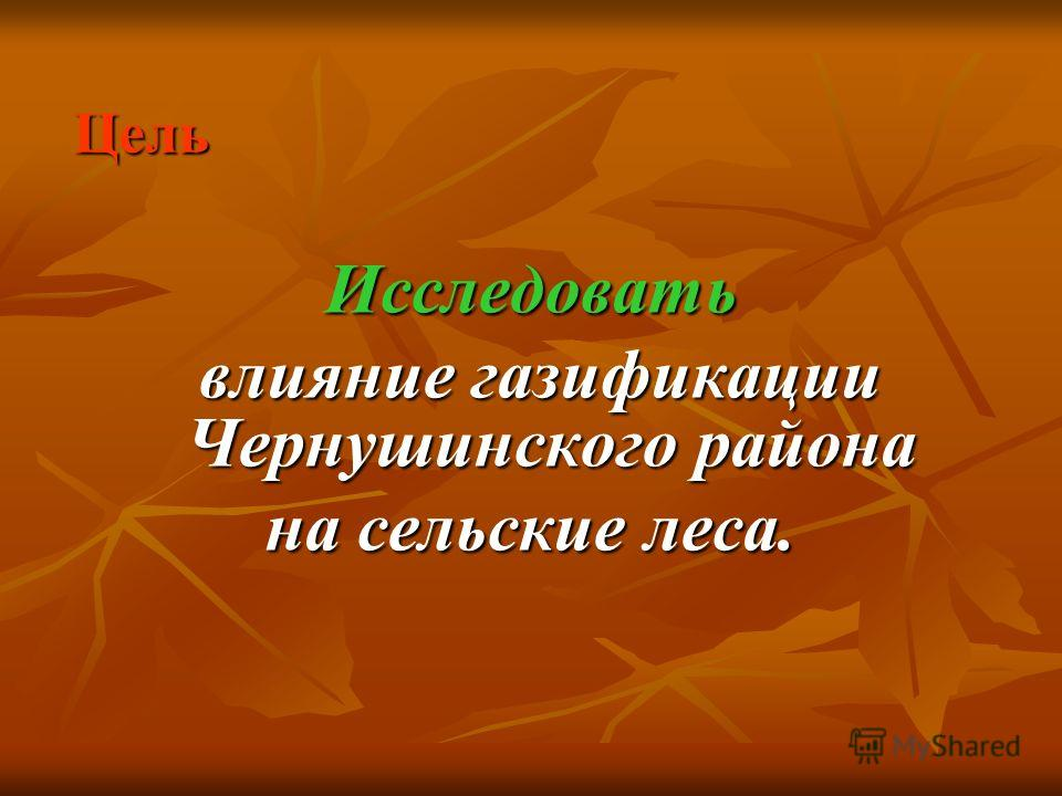 Цель Исследовать влияние газификации Чернушинского района влияние газификации Чернушинского района на сельские леса.