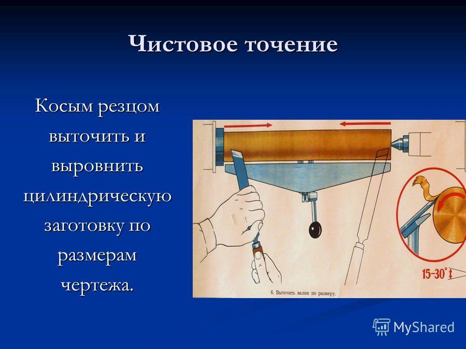 Чистовое точение Косым резцом выточить и выровнитьцилиндрическую заготовку по размерамчертежа.