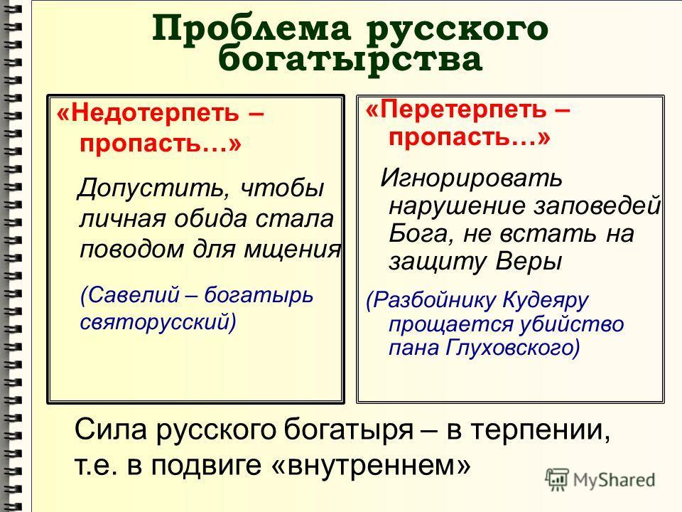 Проблема русского богатырства «Недотерпеть – пропасть…» Допустить, чтобы личная обида стала поводом для мщения (Савелий – богатырь святорусский) «Пере