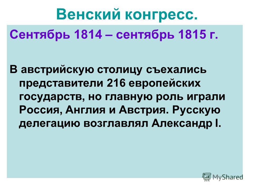Венский конгресс. Сентябрь 1814 – сентябрь 1815 г. В австрийскую столицу съехались представители 216 европейских государств, но главную роль играли Россия, Англия и Австрия. Русскую делегацию возглавлял Александр I.