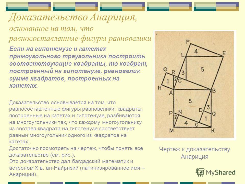 Доказательство Анариция, основанное на том, что равносоставленные фигуры равновелики Чертеж к доказательству Анариция Если на гипотенузе и катетах прямоугольного треугольника построить соответствующие квадраты, то квадрат, построенный на гипотенузе,