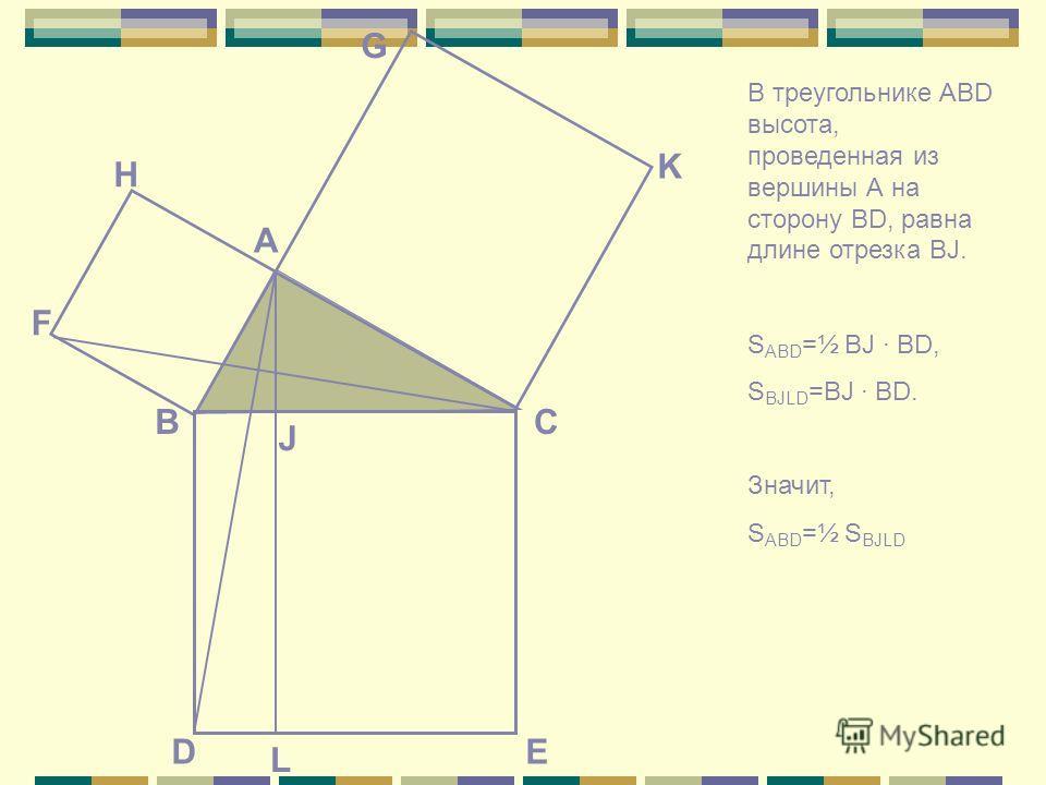 E СВ А K G F H D J L В треугольнике ABD высота, проведенная из вершины А на сторону BD, равна длине отрезка BJ. S ABD =½ BJ BD, S BJLD =BJ BD. Значит, S ABD =½ S BJLD