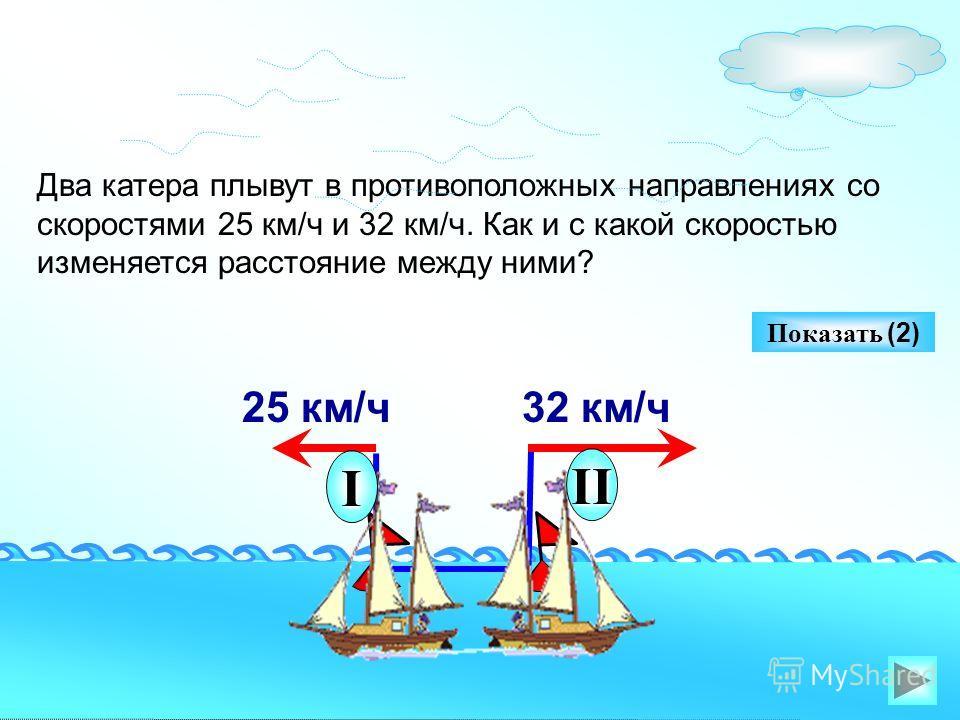 Два катера плывут в противоположных направлениях со скоростями 25 км/ч и 32 км/ч. Как и с какой скоростью изменяется расстояние между ними? Показать (2) 25 км/ч32 км/ч I II
