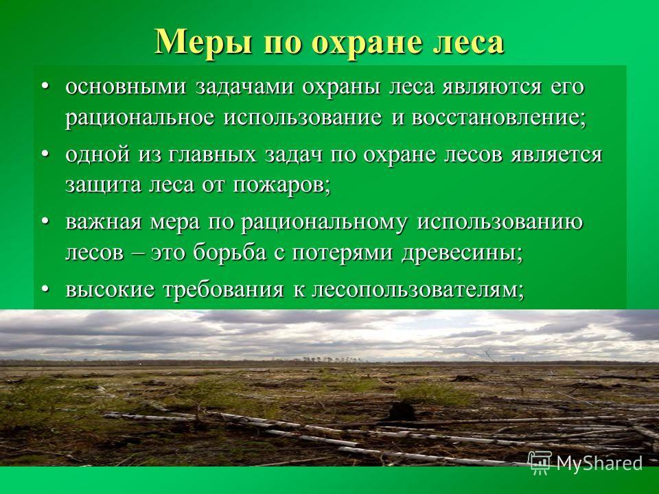 Меры по охране леса основными задачами охраны леса являются его рациональное использование и восстановление;основными задачами охраны леса являются его рациональное использование и восстановление; одной из главных задач по охране лесов является защит