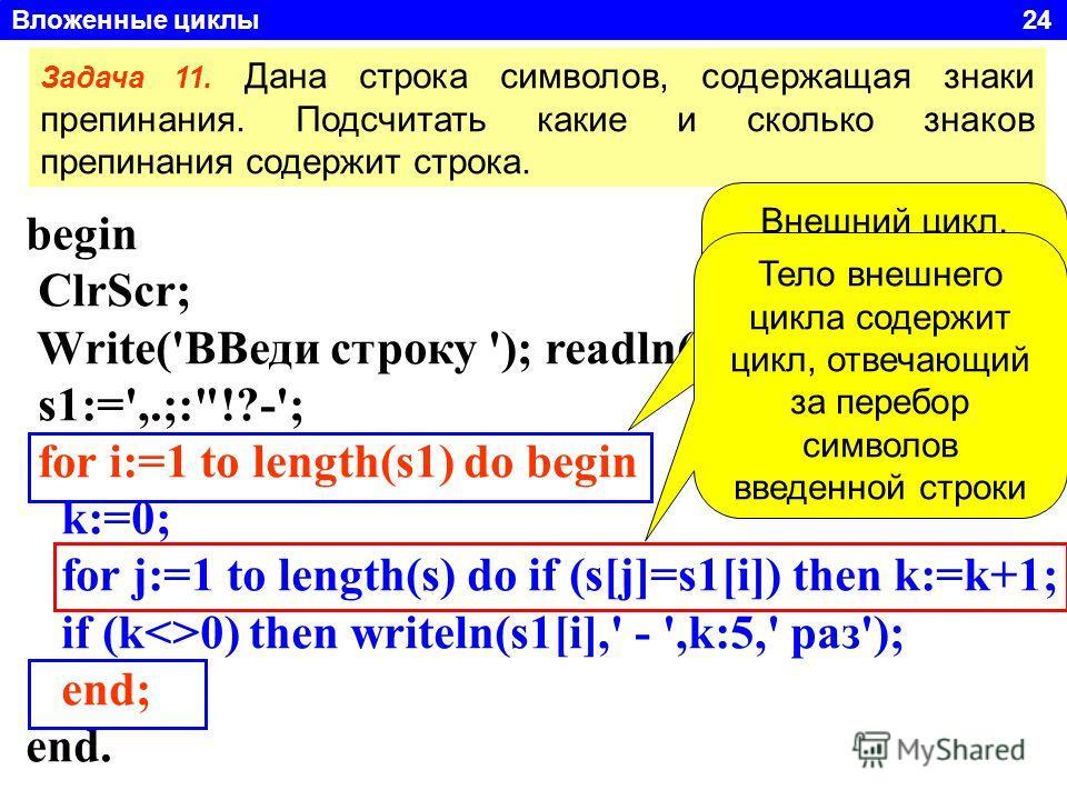 Вложенные циклы 24 begin ClrScr; Write('ВВеди строку '); readln(s); s1:=',.;: