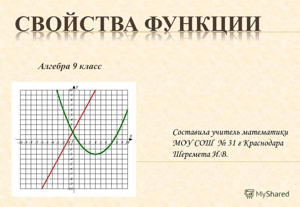 Алгебра 9 класс Составила учитель математики МОУ СОШ 31 г Краснодара Шеремета И.В.