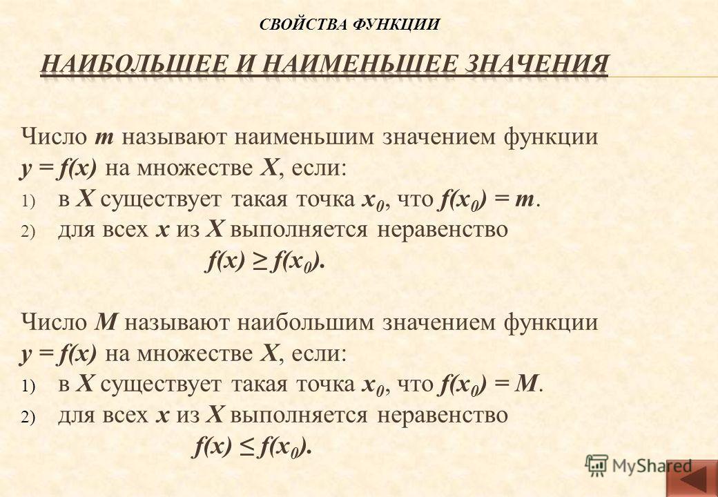 Число m называют наименьшим значением функции у = f(х) на множестве Х, если: 1) в Х существует такая точка х 0, что f(х 0 ) = m. 2) для всех х из Х выполняется неравенство f(х) f(х 0 ). Число M называют наибольшим значением функции у = f(х) на множес
