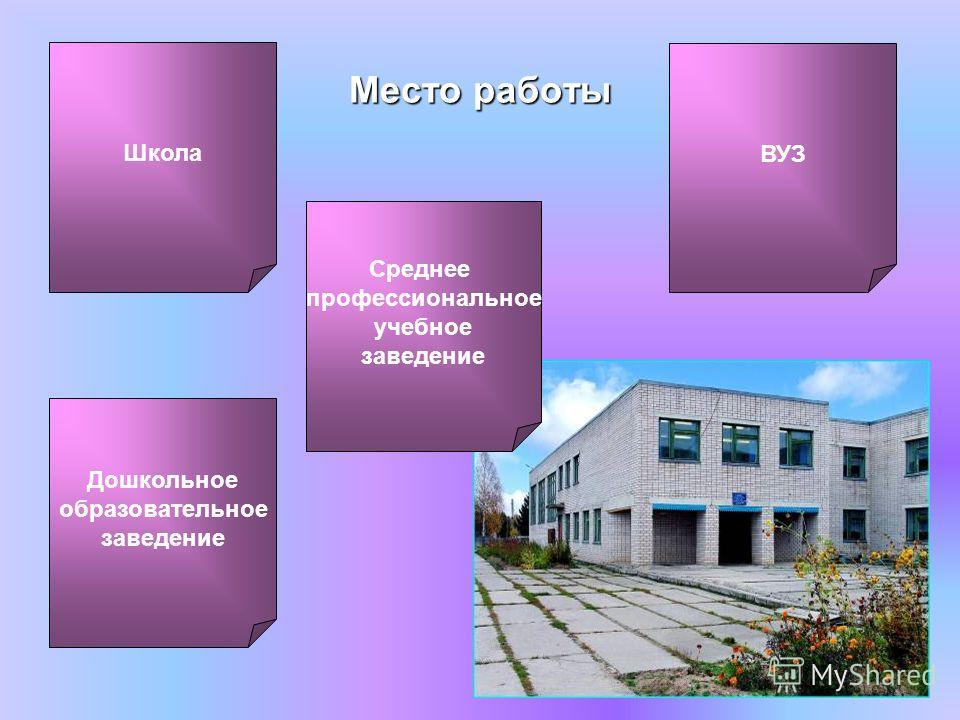 Место работы Среднее профессиональное учебное заведение ВУЗ Дошкольное образовательное заведение Школа