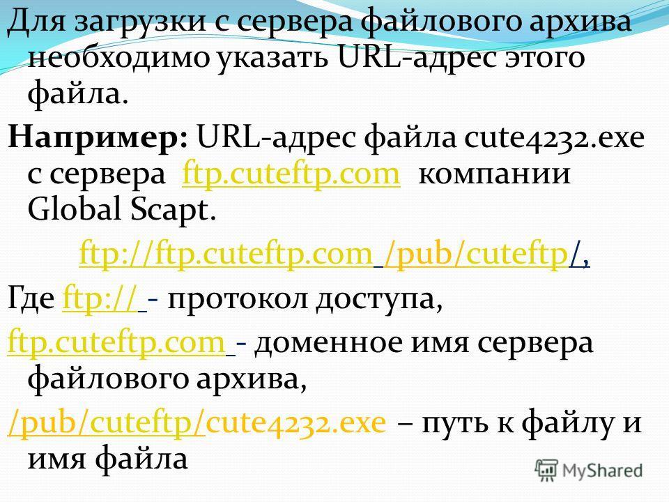 Для загрузки с сервера файлового архива необходимо указать URL-адрес этого файла. Например: URL-адрес файла cute4232.exe с сервера ftp.cuteftp.com компании Global Scapt.ftp.cuteftp.com ftp://ftp.cuteftp.comftp://ftp.cuteftp.com /pub/cuteftp/,cuteftp
