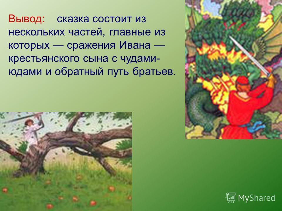 Вывод: сказка состоит из нескольких частей, главные из которых сражения Ивана крестьянского сына с чудами- юдами и обратный путь братьев.