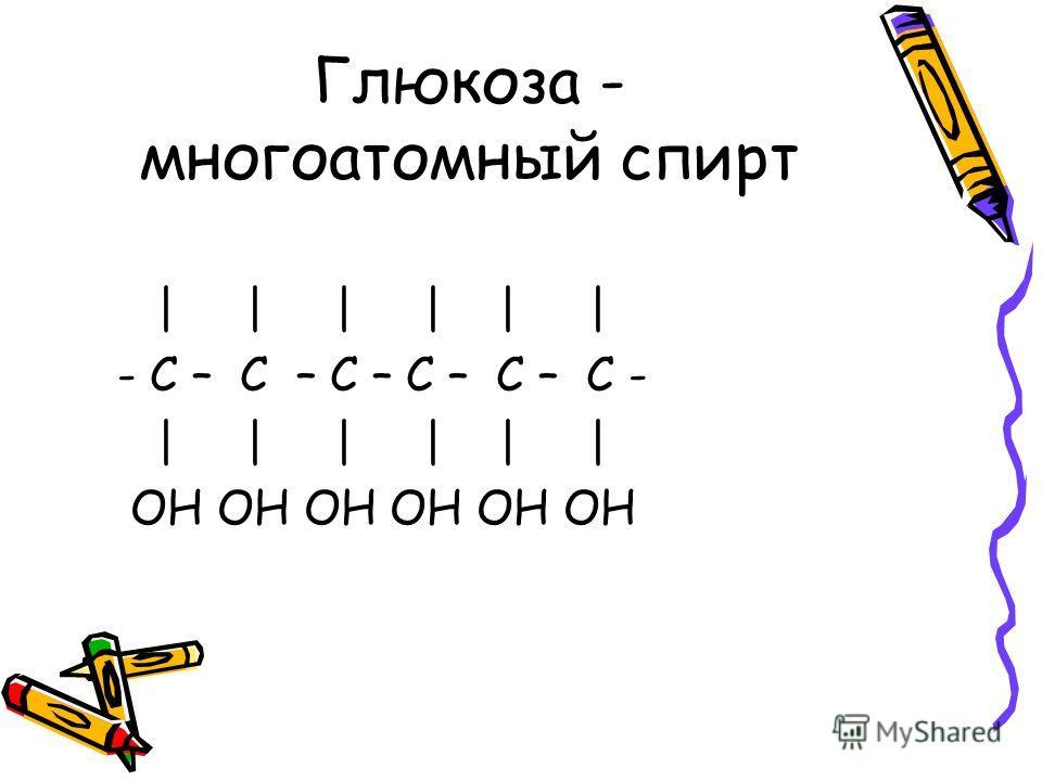 Глюкоза - многоатомный спирт | | | | | | - С – С – С – С – С – С - | | | | | | OH OH OH OH OH OH