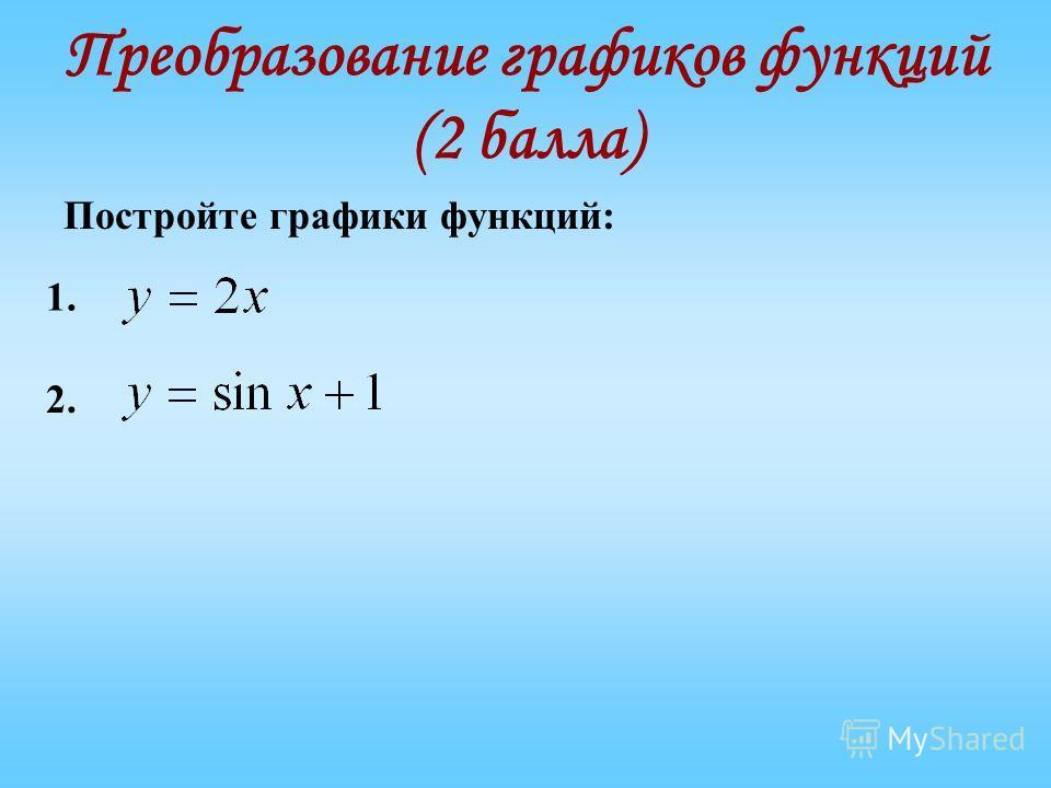 Преобразование графиков функций (2 балла) Постройте графики функций: 1. 2.