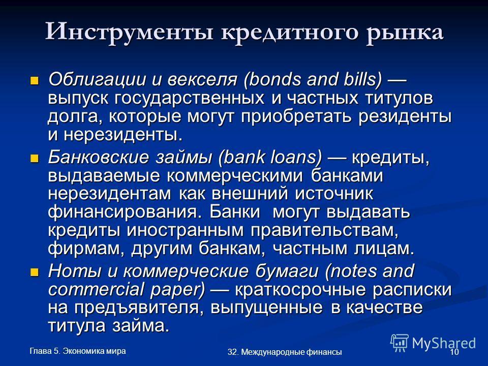 Глава 5. Экономика мира 10 32. Международные финансы Инструменты кредитного рынка Облигации и векселя (bonds and bills) выпуск государственных и частных титулов долга, которые могут приобретать резиденты и нерезиденты. Облигации и векселя (bonds and