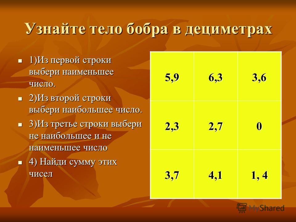 Узнайте тело бобра в дециметрах 1)Из первой строки выбери наименьшее число. 1)Из первой строки выбери наименьшее число. 2)Из второй строки выбери наибольшее число. 2)Из второй строки выбери наибольшее число. 3)Из третье строки выбери не наибольшее и