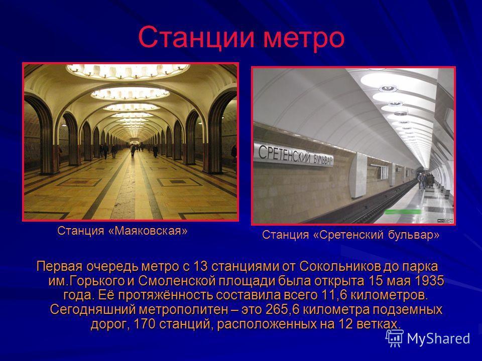 Первая очередь метро с 13 станциями от Сокольников до парка им.Горького и Смоленской площади была открыта 15 мая 1935 года. Её протяжённость составила всего 11,6 километров. Сегодняшний метрополитен – это 265,6 километра подземных дорог, 170 станций,