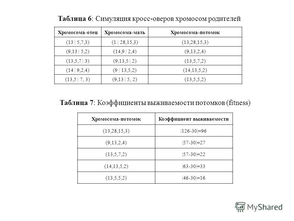 Таблица 6: Симуляция кросс-оверов хромосом родителей Хромосома-отецХромосома-матьХромосома-потомок (13 | 5,7,3)(1 | 28,15,3)(13,28,15,3) (9,13 | 5,2)(14,9 | 2,4)(9,13,2,4) (13,5,7 | 3)(9,13,5 | 2)(13,5,7,2) (14 | 9,2,4)(9 | 13,5,2)(14,13,5,2) (13,5 |