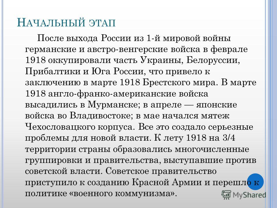 Н АЧАЛЬНЫЙ ЭТАП После выхода России из 1-й мировой войны германские и австро-венгерские войска в феврале 1918 оккупировали часть Украины, Белоруссии, Прибалтики и Юга России, что привело к заключению в марте 1918 Брестского мира. В марте 1918 англо-ф