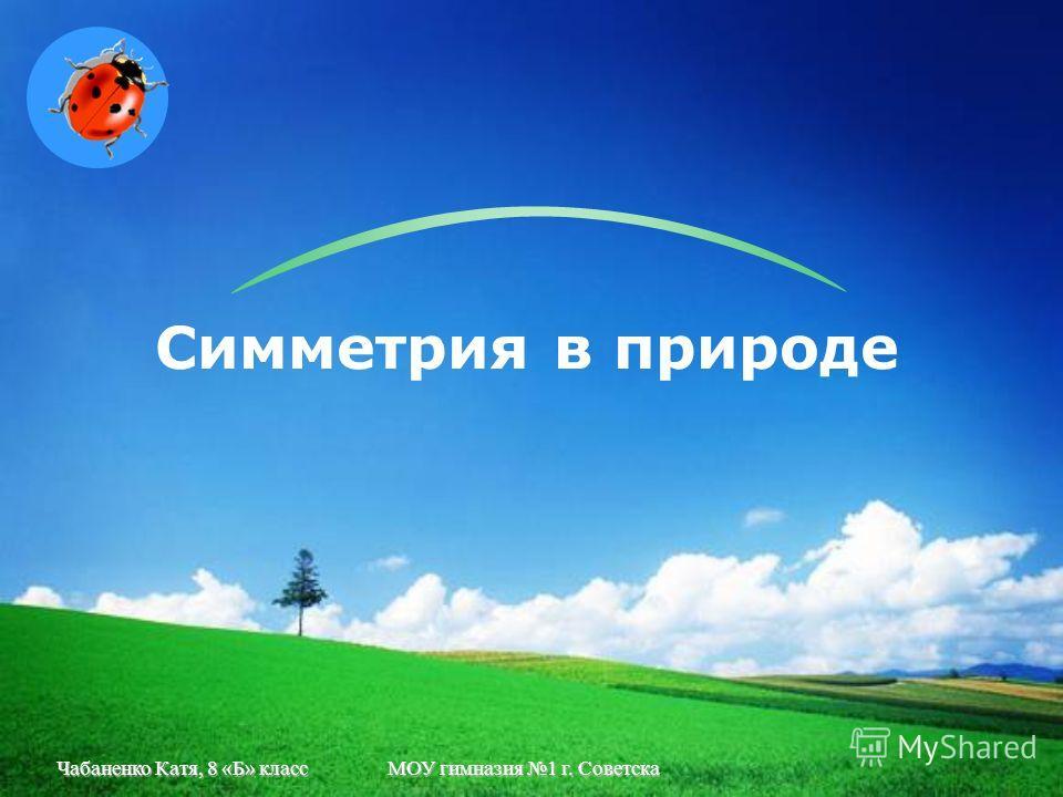 Чабаненко Катя, 8 «Б» классМОУ гимназия 1 г. Советска Симметрия в природе