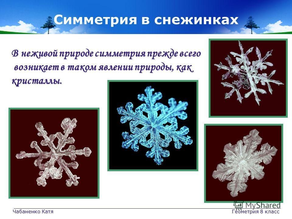 Чабаненко Катя Геометрия 8 класс Симметрия в снежинках В неживой природе симметрия прежде всего возникает в таком явлении природы, как возникает в таком явлении природы, каккристаллы.