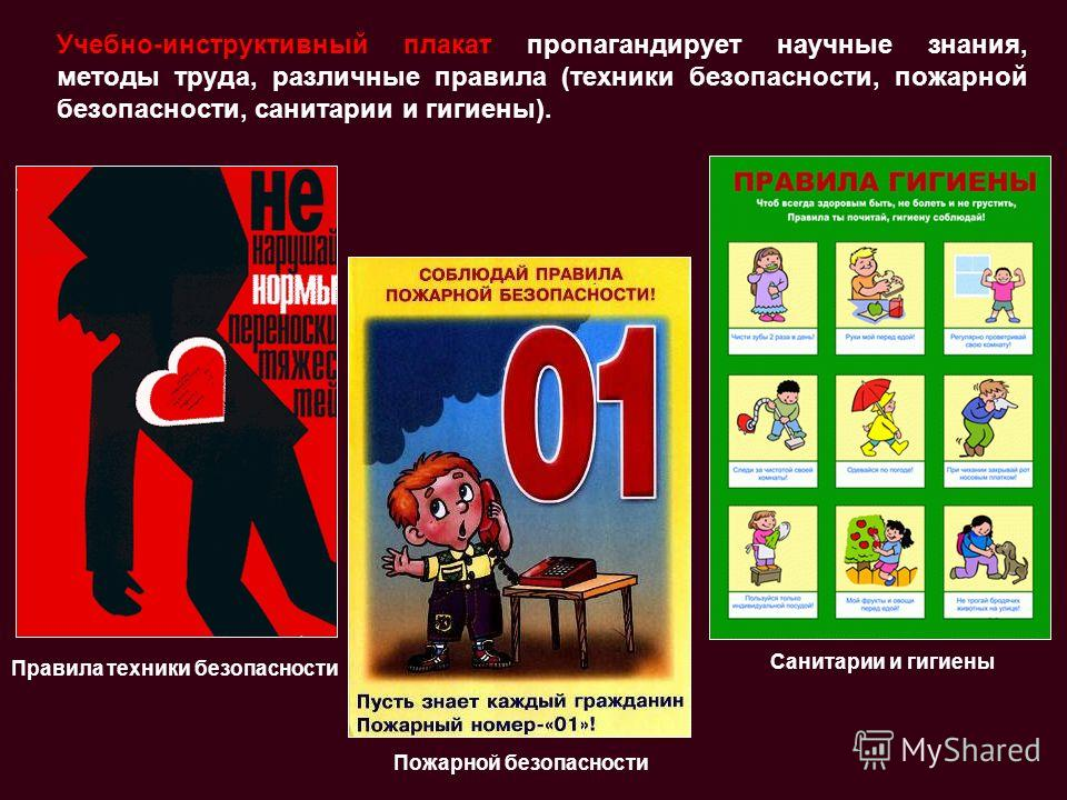 Учебно-инструктивный плакат пропагандирует научные знания, методы труда, различные правила (техники безопасности, пожарной безопасности, санитарии и гигиены). Правила техники безопасности Санитарии и гигиены Пожарной безопасности