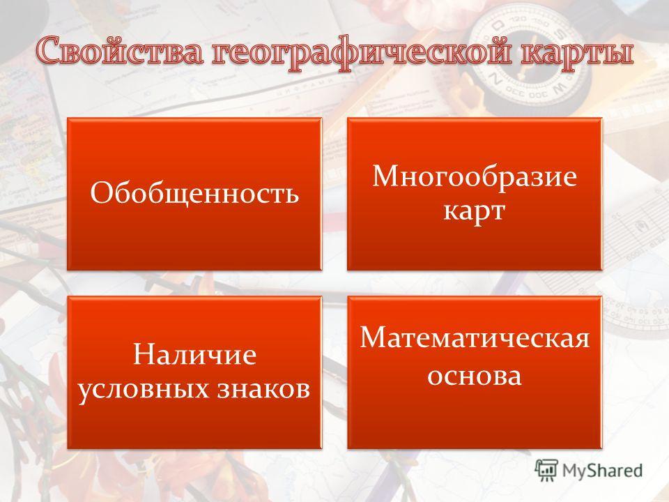 Обобщенность Многообразие карт Наличие условных знаков Математическая основа