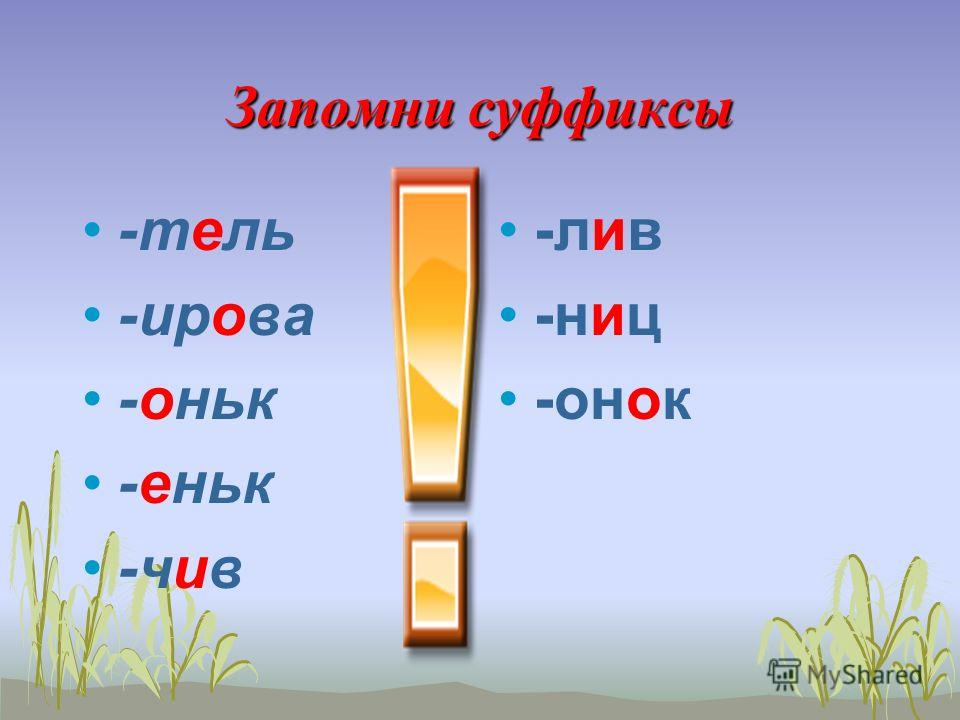 Орфограммы В суффиксах глагола -ова- -ева- // -ива- -ыва- существительного -чик // -щик -ек // ик прилагательного -к // -ск