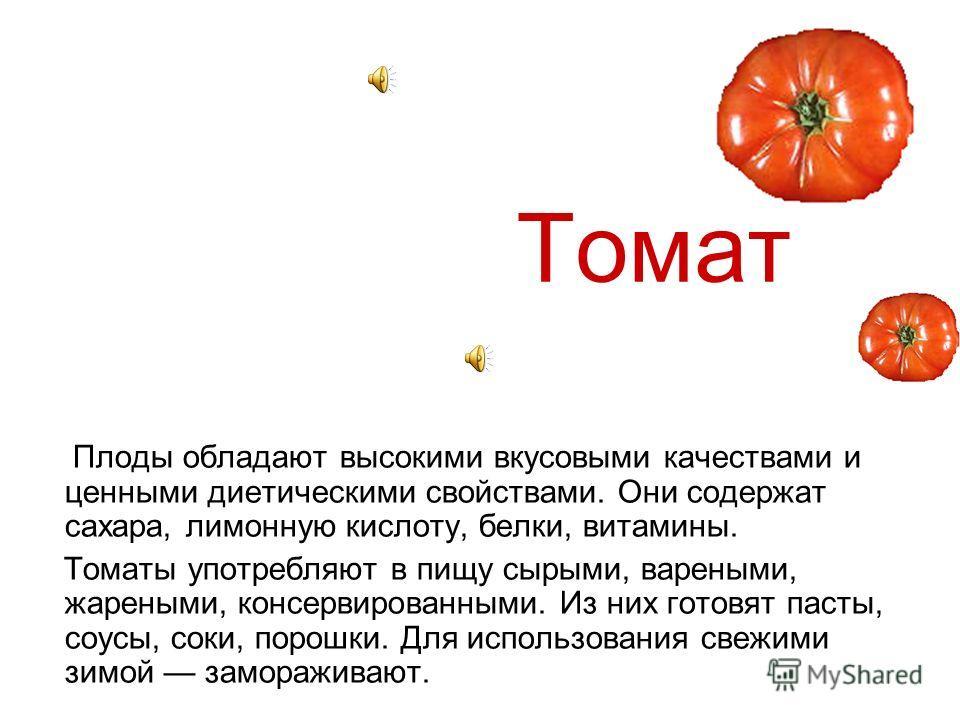 Болотов А.Т Одной из первых стран, где стали выращивать томаты для употребления в пищу, оказалась Россия. Произошло это благодаря русскому ученому- агроному А. Т. Болотову, который серьезно занимался томатом и доказал, что он не только не ядовит, но
