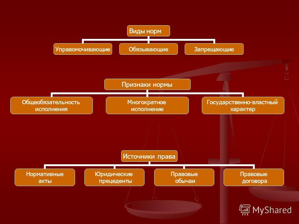 Источники права Нормативные акты Юридические прецеденты Правовые обычаи Правовые договора Виды норм УправомочивающиеОбязывающиеЗапрещающие Признаки нормы Общеобязательность исполнения Многократное исполнение Государственно- властный характер