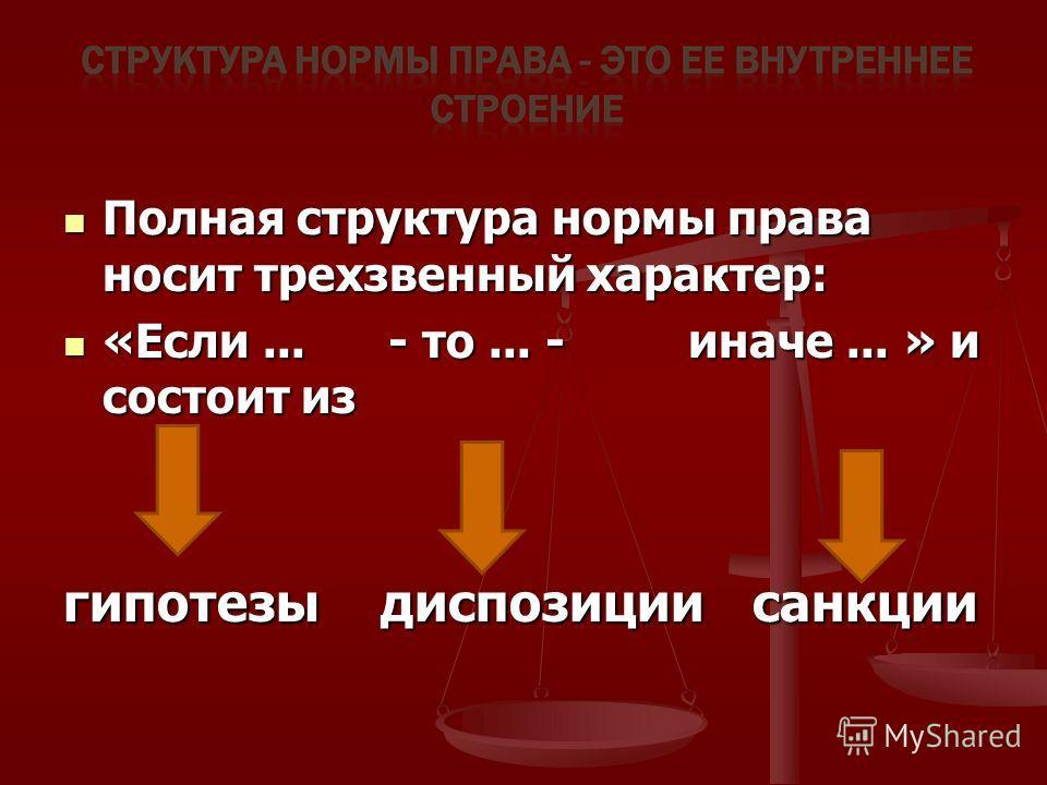 Полная структура нормы права носит трехзвенный характер: Полная структура нормы права носит трехзвенный характер: «Если... - то... - иначе... » и состоит из «Если... - то... - иначе... » и состоит из гипотезы диспозиции санкции
