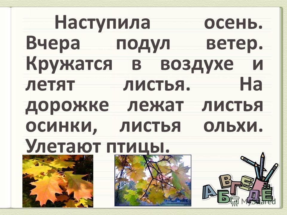 Наступила осень. Вчера подул ветер. Кружатся в воздухе и летят листья. На дорожке лежат листья осинки, листья ольхи. Улетают птицы.