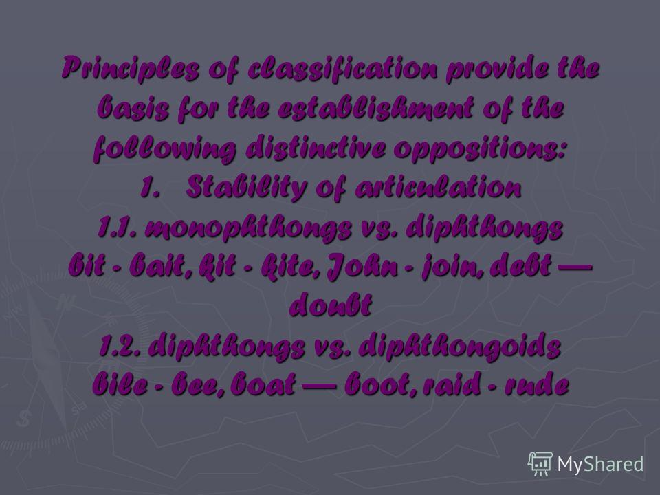 Principles of classification provide the basis for the establishment of the following distinctive oppositions: 1. Stability of articulation 1.1. monophthongs vs. diphthongs bit - bait, kit - kite, John - join, debt doubt 1.2. diphthongs vs. diphthong