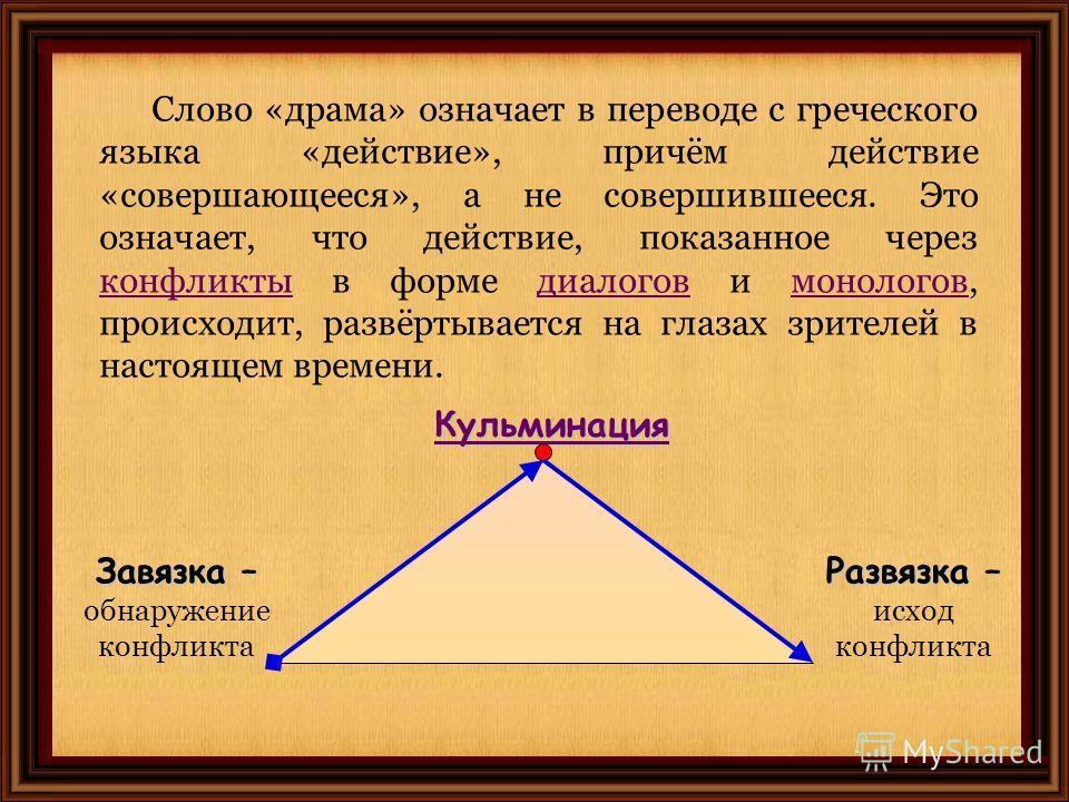 Слово «драма» означает в переводе с греческого языка «действие», причём действие «совершающееся», а не совершившееся. Это означает, что действие, показанное через конфликты в форме диалогов и монологов, происходит, развёртывается на глазах зрителей в