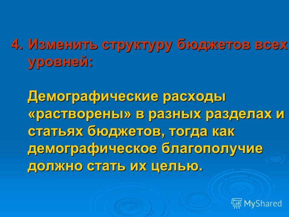 3. Создать программу демографического возрождения. Президент России и главы регионов должны возглавить демографическое возрождение.