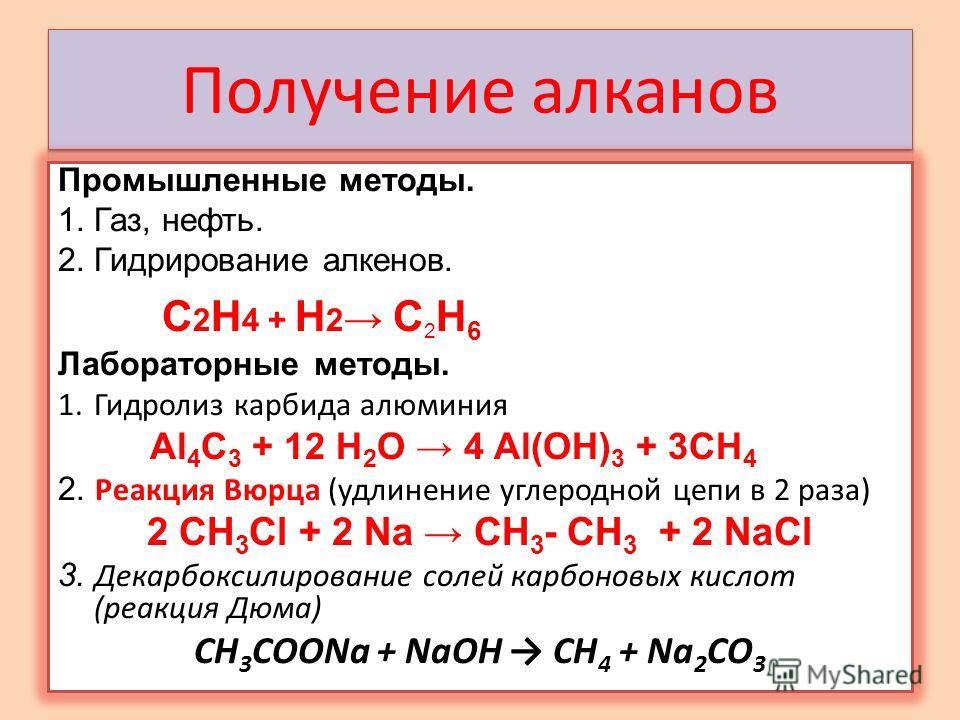 Промышленные методы. 1.Газ, нефть. 2.Гидрирование алкенов. C 2 H 4 + Н 2 C 2 H 6 Лабораторные методы. 1.Гидролиз карбида алюминия Al 4 C 3 + 12 H 2 O 4 Al(OH) 3 + 3CH 4 2. Реакция Вюрца (удлинение углеродной цепи в 2 раза) 2 СН 3 Сl + 2 Na CH 3 - CH