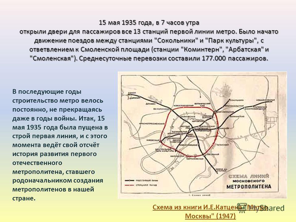 15 мая 1935 года, в 7 часов утра открыли двери для пассажиров все 13 станций первой линии метро. Было начато движение поездов между станциями