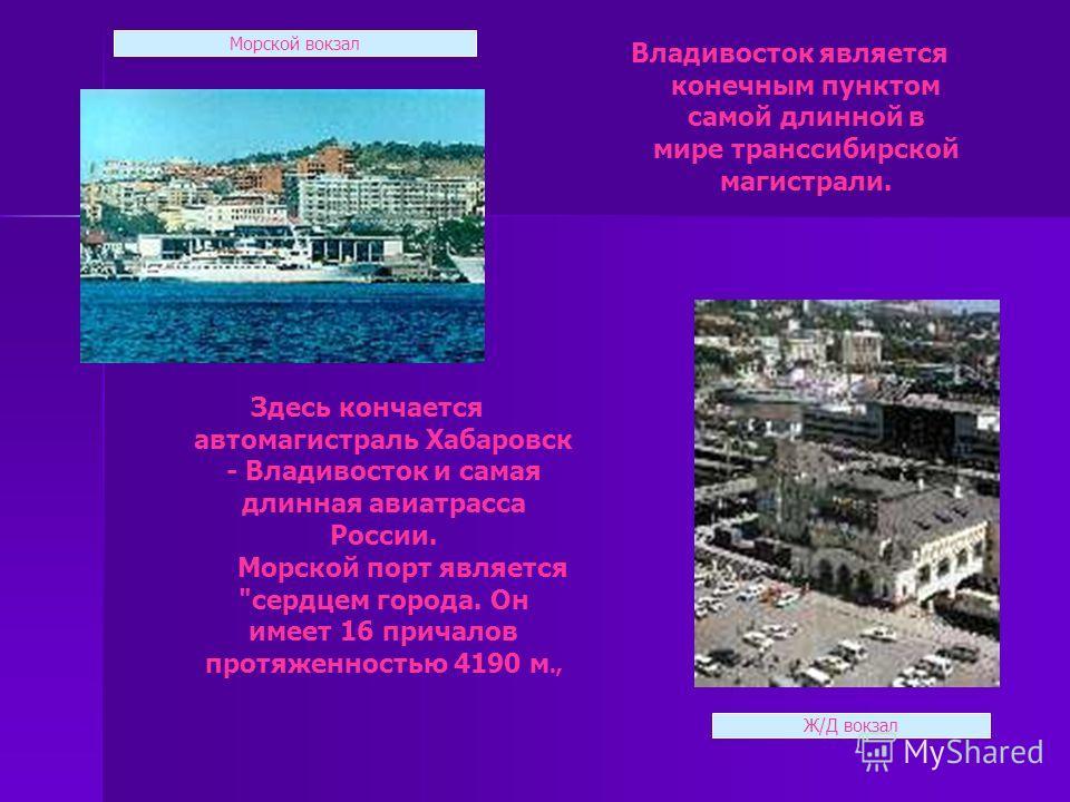 Здесь кончается автомагистраль Хабаровск - Владивосток и самая длинная авиатрасса России. Морской порт является