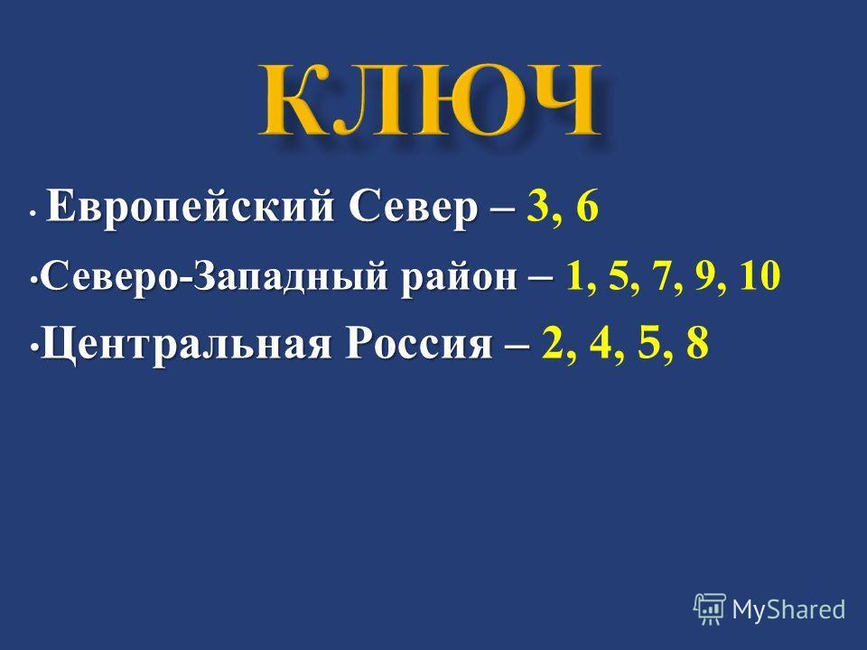 Европейский Север – Европейский Север – 3, 6 Северо - Западный район – Северо - Западный район – 1, 5, 7, 9, 10 Центральная Россия – Центральная Россия – 2, 4, 5, 8