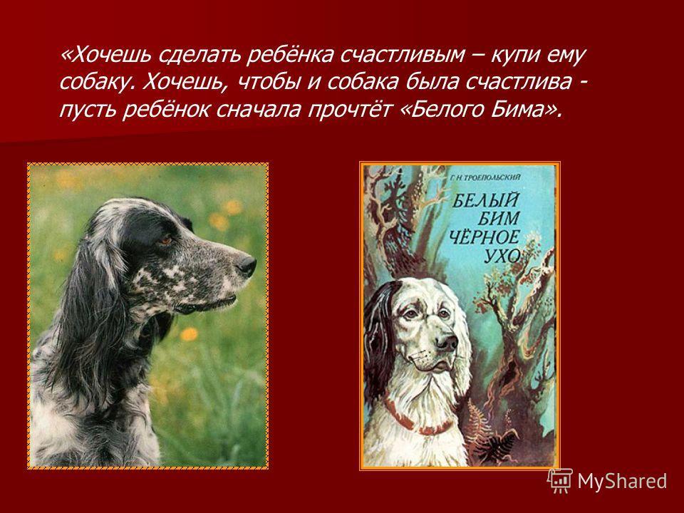 «Хочешь сделать ребёнка счастливым – купи ему собаку. Хочешь, чтобы и собака была счастлива - пусть ребёнок сначала прочтёт «Белого Бима».