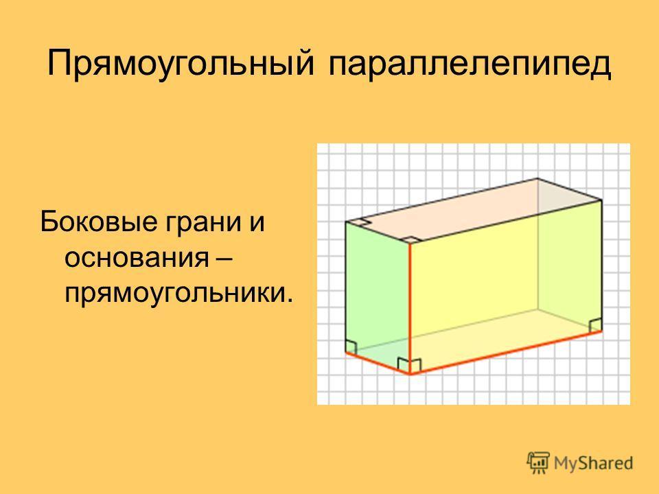 Прямоугольный параллелепипед Боковые грани и основания – прямоугольники.