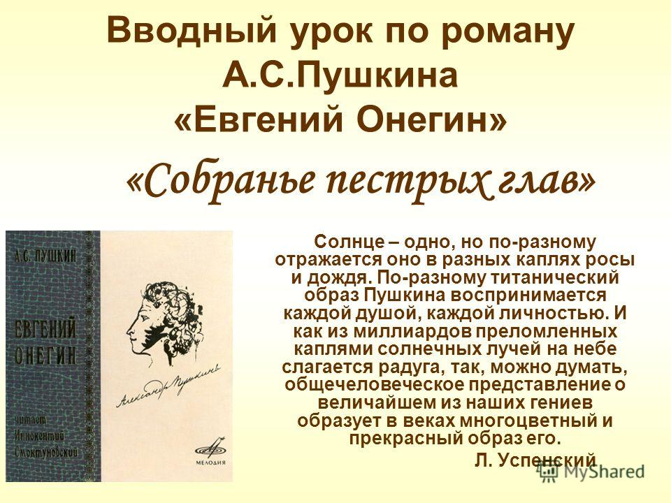 Вводный урок по роману А.С.Пушкина «Евгений Онегин» Солнце – одно, но по-разному отражается оно в разных каплях росы и дождя. По-разному титанический образ Пушкина воспринимается каждой душой, каждой личностью. И как из миллиардов преломленных каплям