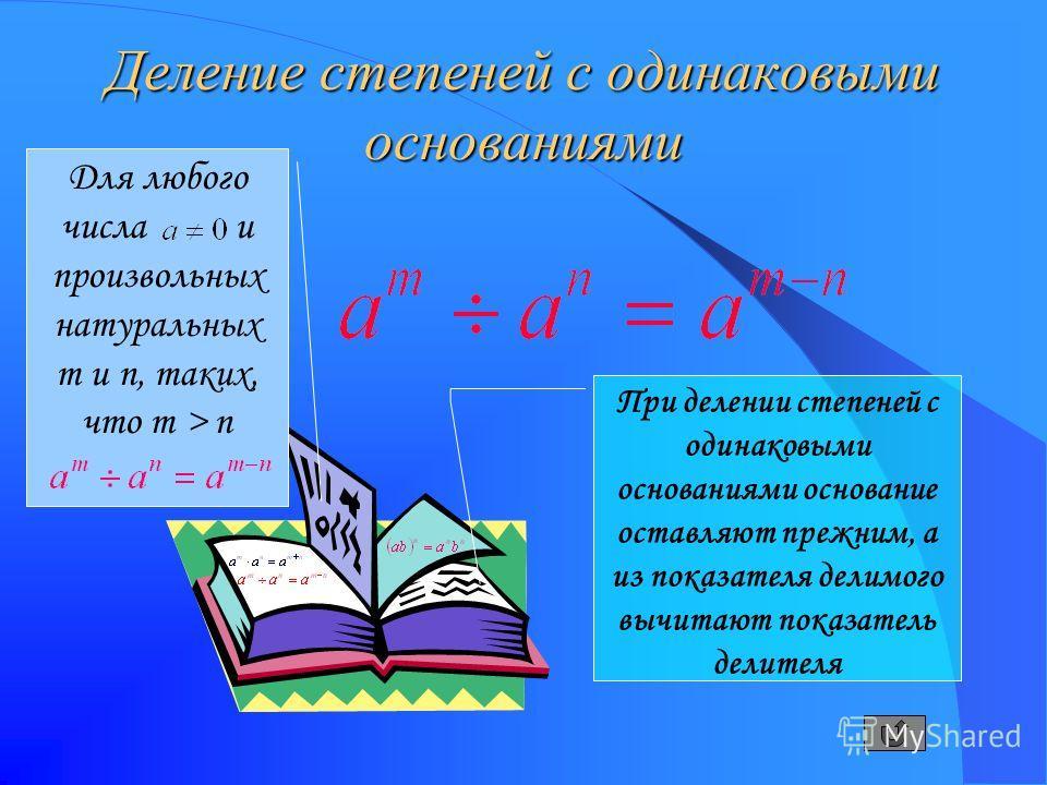 Деление степеней с одинаковыми основаниями Для любого числа и произвольных натуральных m и n, таких, что m > n При делении степеней с одинаковыми основаниями основание оставляют прежним, а из показателя делимого вычитают показатель делителя
