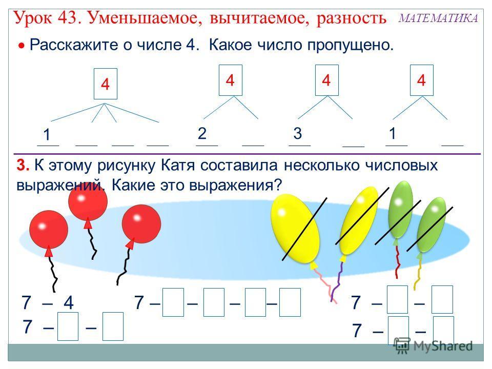 7 – 1 – 1 – 1 – 1 7373 7 – 4 7 – 2 – 2 7 – 1 – 3 7 – 3 – 1 73 73 73 3. К этому рисунку Катя составила несколько числовых выражений. Какие это выражения? 11 4 11 2 2 4 1 3 4 3 1 4 Расскажите о числе 4. Какое число пропущено. Урок 43. Уменьшаемое, вычи