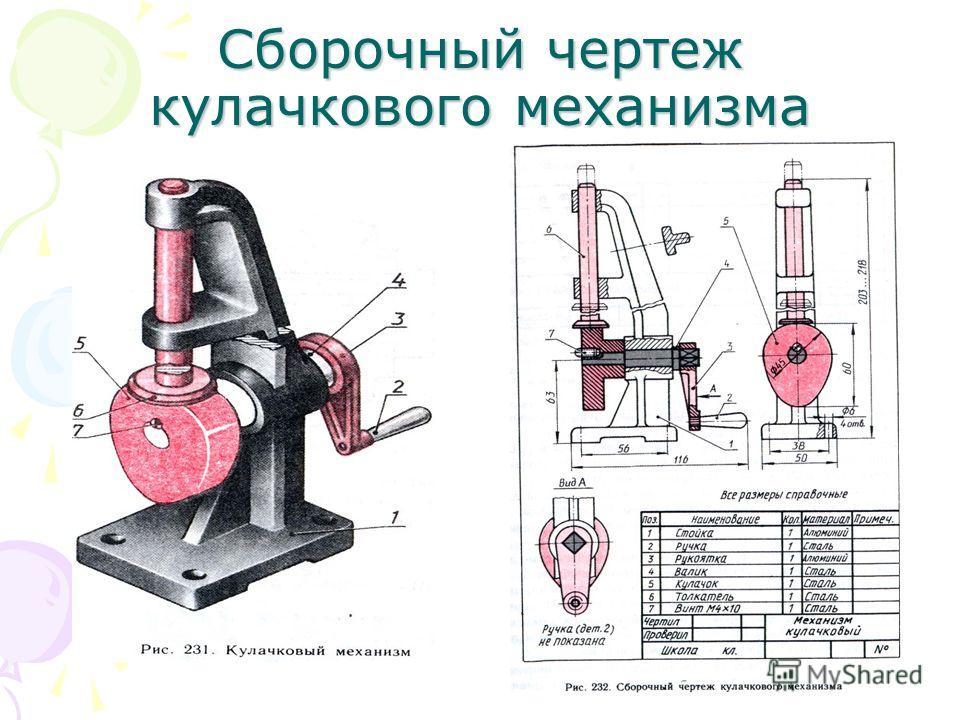 Сборочный чертеж кулачкового механизма