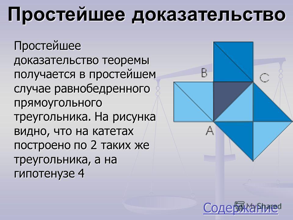 Простейшее доказательство Простейшее доказательство теоремы получается в простейшем случае равнобедренного прямоугольного треугольника. На рисунка видно, что на катетах построено по 2 таких же треугольника, а на гипотенузе 4 Содержание